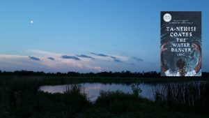 Image is of a calm pool of water in the Wakarusa Wetlands near dusk, a moonlit sky with low clouds near the horizon