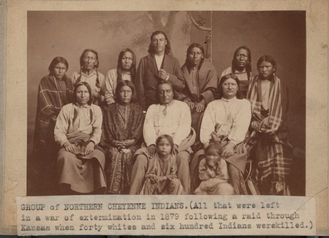 Image is of a group of Northern Cheyenne Indians photographed in Lawrence, Kansas.
