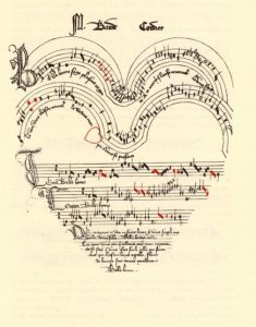 An example of Eye Music, a staff of music notation shaped like a heart