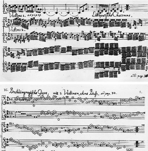 """An example of Eye Music, Telemann's """"Gulliver Suite"""" with unnecessarily and ridiculously condensed clusters of notes with comedic time signatures"""